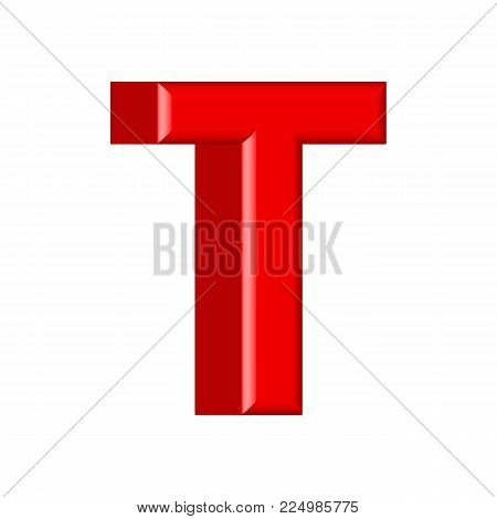 Glossy pink paint letter T uppercase. 3D render of bubble font with glint isolated
