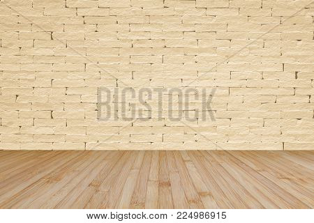 Grunge Brick Wall Painted In Light Yellow Beige With Wooden Floor In Yellow Brown For Interior Backg