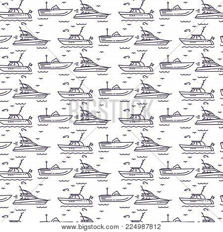 Seamless pattern  icons of marine boats, yachts