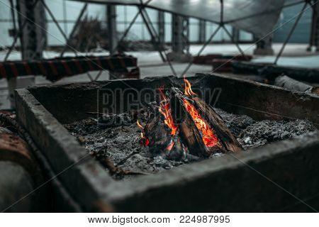 Fireplace, post apocalyptic concept, judgment day
