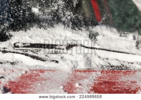 scraping snow from car winter . In the park in nature poster