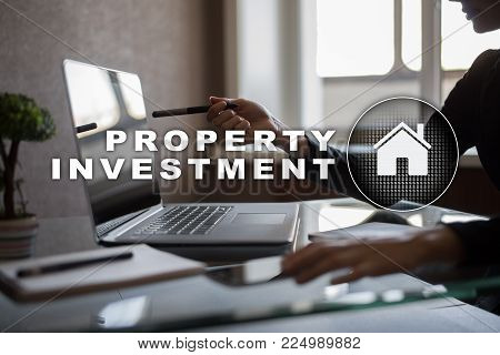 Property investment business and technology concept. Virtual screen background