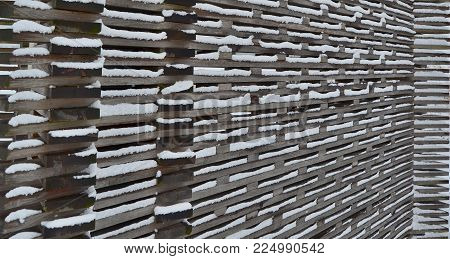 wall built of wooden planks, South Bohemia, Czech Republic