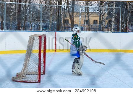 Kuzmolovo, Russia, 03 February 2018: Youth Ice hockey match Shuiskie Sokoly vs. Himik