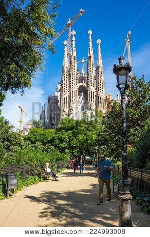 BARCELONA, SPAIN - OCTOBER 22, 2015: Basilica and Expiatory Church of the Holy Family is a large Roman Catholic church in Barcelona, designed by Catalan Spanish architect Antoni Gaudi