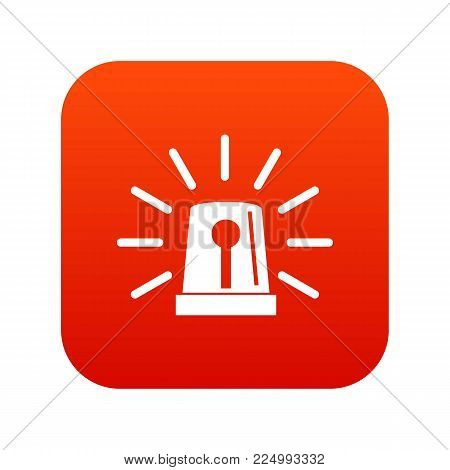Flashing emergency light icon digital red for any design isolated on white vector illustration