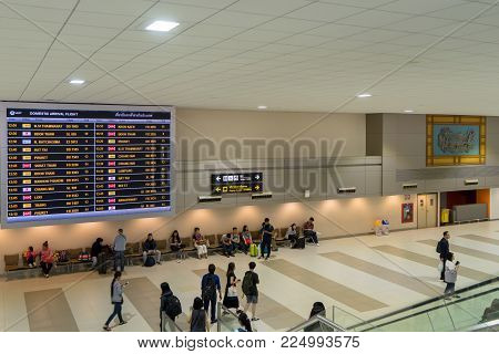 Visitors Walking Around Arrival Hall In Don Mueang International Airport