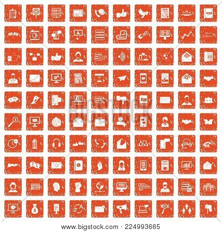 100 interaction icons set in grunge style orange color isolated on white background vector illustration