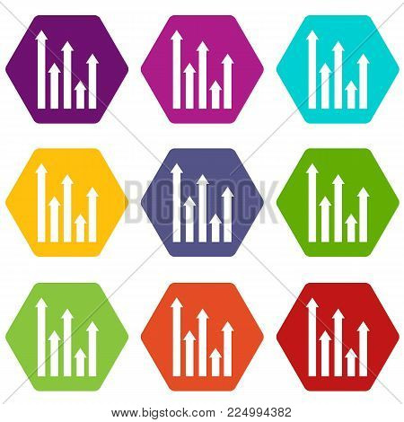 Upside growing arrows icon set many color hexahedron isolated on white vector illustration