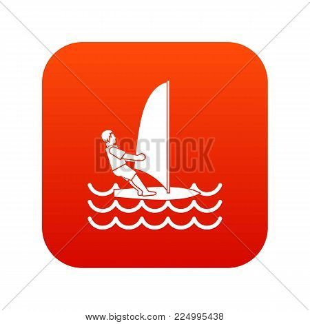 Man on windsurf icon digital red for any design isolated on white vector illustration