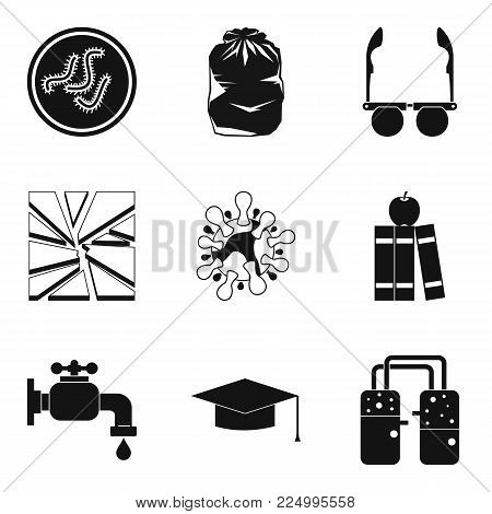 Medical intervention icons set. Simple set of 9 medical intervention vector icons for web isolated on white background