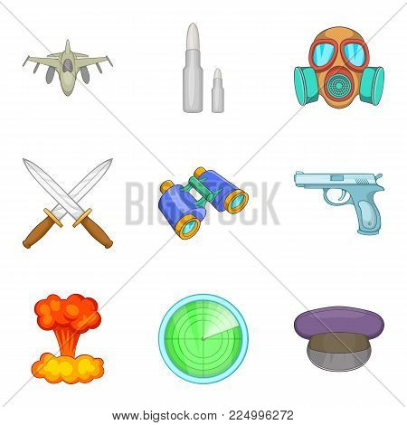 Military matter icons set. Cartoon set of 9 military matter vector icons for web isolated on white background