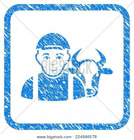 Cow Farmer rubber stamp imitation. Icon vector symbol with textured design and dirty texture in rounded square. Scratched blue sticker. Male face has enjoy expression.