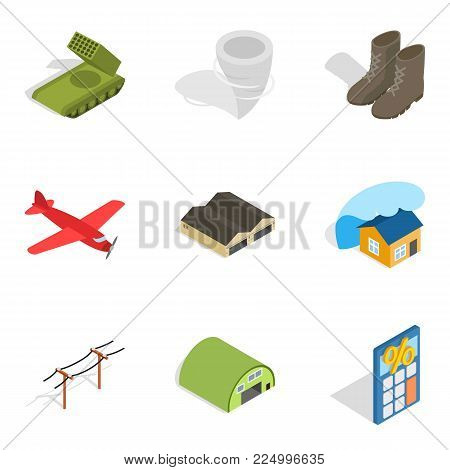 Troops icons set. Isometric set of 9 troops vector icons for web isolated on white background