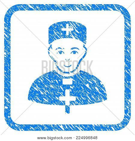 Monastic Doctor rubber seal stamp watermark. Icon vector symbol with scratched design and corrosion texture in rounded rectangle. Scratched blue emblem. Person face has smiling emotion.