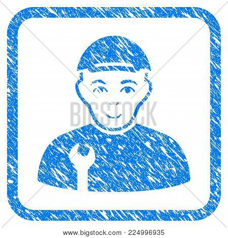 Repairman rubber seal watermark. Icon vector symbol with scratched design and corrosion texture in rounded frame. Scratched blue sign. Male face has glad feeling.