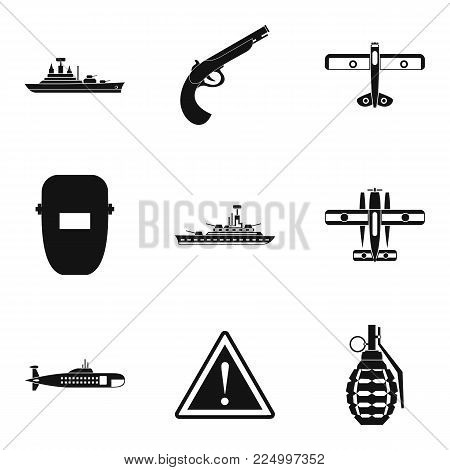 Military resources icons set. Simple set of 9 military resources vector icons for web isolated on white background