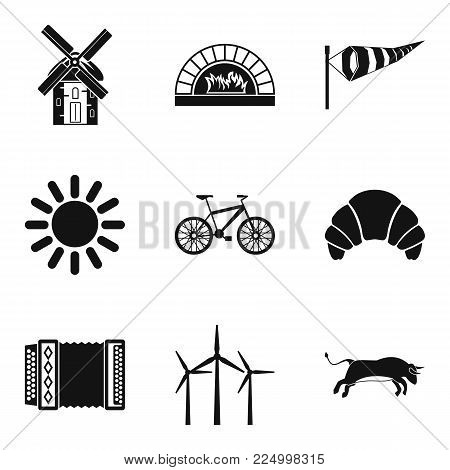 Rural locality icons set. Simple set of 9 rural locality vector icons for web isolated on white background