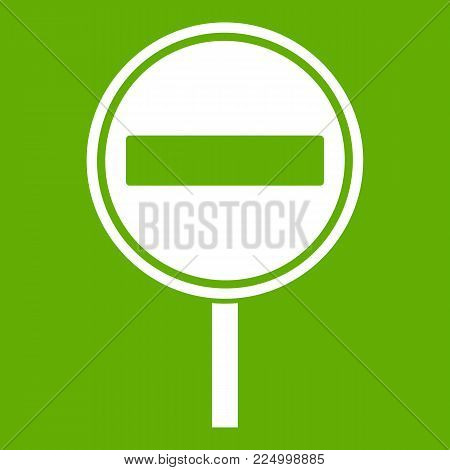 No entry sign icon white isolated on green background. Vector illustration