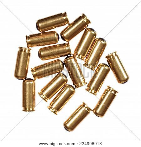 9mm bullets isolated on white. High resolution photo.