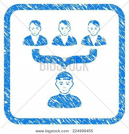 Citizens Guide rubber stamp imitation. Icon vector symbol with scratched design and dust texture in rounded frame. Scratched blue sign. Male face has happiness sentiment.