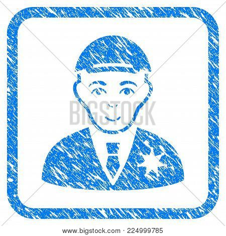 Sheriff rubber seal imitation. Icon vector symbol with grunge design and dirty texture in rounded rectangle. Scratched blue emblem. Dude face has enjoy expression.