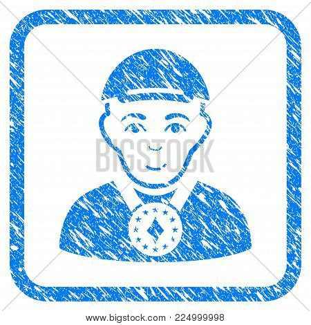 Lord rubber seal stamp watermark. Icon vector symbol with scratched design and corrosion texture inside rounded square. Scratched blue emblem. Human face has cheerful expression.
