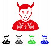 Sad Deers Pullover Horned Husband vector pictogram. Vector illustration style is a flat iconic deers pullover horned husband symbol with grey, black, blue, red, green color variants. poster