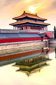 Rear Gate Heavenly Purity Gugong Forbidden City  Moat Canal Plaace Wall Beijing China. Emperor's Palace Built in the 1600s in the Ming Dynasty poster
