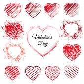 Set of sketched red hearts. 13 hand drawn love symbols with pen scribbles, pencil scratches and grunge splashes. Sketchy vector illustration with outline heart doodles for valentines day or wedding. poster