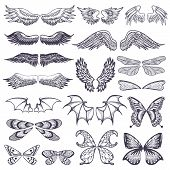 Wings vector flying winged angel with wing-case of bird and butterfly with wingspan illustration black wing-beat tattoo silhouette set isolated on white background. poster