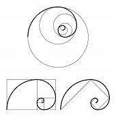 Golden ratio template set. Proportion symbol. Graphic Design element. Golden section spiral. Vector illustration poster