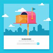 Email subscribe, online newsletter vector template with mailbox and submit button. Envelope and subscribe button, newsletter website illustration poster
