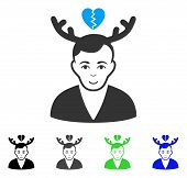Glad Deceived Horned Husband vector icon. Vector illustration style is a flat iconic deceived horned husband symbol with grey, black, blue, green color versions. Human face has joyful mood. poster
