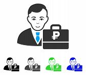 Joyful Rouble Accounter vector pictogram. Vector illustration style is a flat iconic rouble accounter symbol with gray, black, blue, green color variants. Person face has gladness feeling. poster