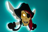 Electronic piracy. The theft of intellectual property. Jolly Roger in a modern style. poster