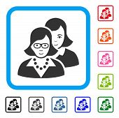 Happy Clever Women vector icon. Person face has joy emotion. Black, gray, green, blue, red, orange color variants of clever women symbol inside a rounded rectangular frame. poster