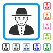 Happy Jew vector icon. Person face has gladness feeling. Black, gray, green, blue, red, pink color versions of jew symbol in a rounded square. poster