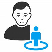 Portal Moderator vector pictogram. Flat bicolor pictogram designed with blue and gray. Human face has glad emotions. poster