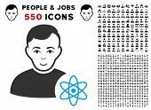 Gladness Atomic Scientist vector icon with 550 bonus pitiful and glad user images. Human face has glad feeling. Bonus style is flat black iconic symbols. poster