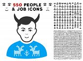 Enjoy Deers Pullover Horned Husband vector icon with 550 bonus sad and happy men pictograms. Person face has enjoy feeling. Bonus style is flat black iconic symbols. poster