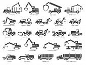 Forestry machinery icons set. Each icon with text label description. Forestry  machine types. Vector silhouette on white background poster