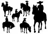 A rider on horseback in a sombrero poster