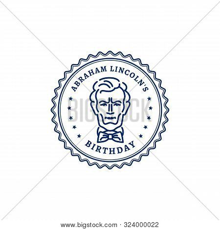 Abraham Lincolns Birthday. Portrait Of Abraham Lincoln Stamp Icon. National Holiday Usa, Vector Grap