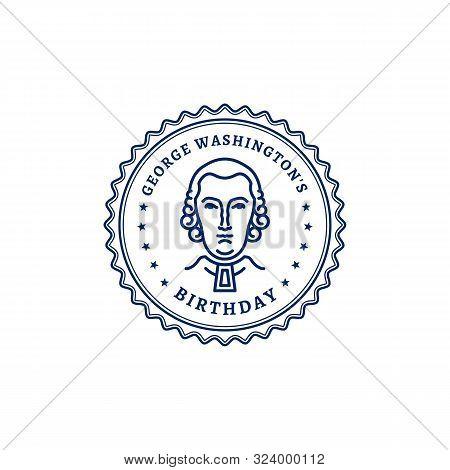 George Washingtons Birthday. Portrait Of George Washington Stamp Icon. National Holiday Usa, Vector