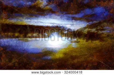 Abstract illustration of the sky. Evening sunset.