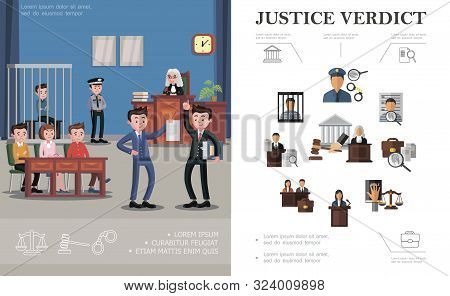 Flat law system concept with police officer magnifier handcuffs defendant judge gavel jury lawyer court building judicial session process vector illustration poster