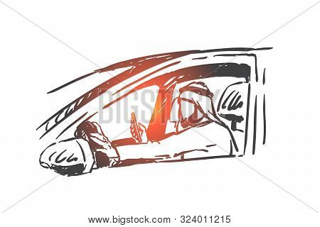 Muslim Man Driving Car, Holding Smartphone In Hand Concept Sketch. Busy Wealthy Arab Businessman Che