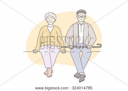 Pensioners, Grandparents, Older People Concept. Older Happy Men And Women Enjoy Sitting In Parks. El