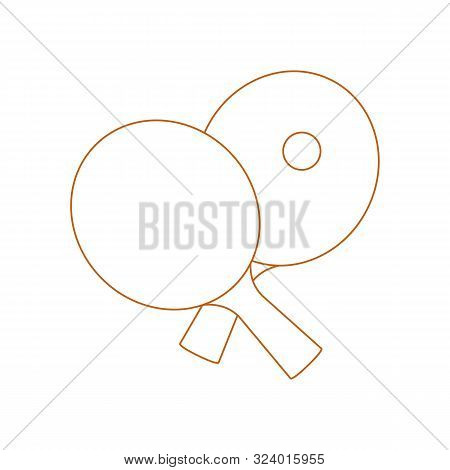 Vector Illustration With Sports Equipment For Table Tennis. Two Crossed Ping Pong Rackets And Ball.